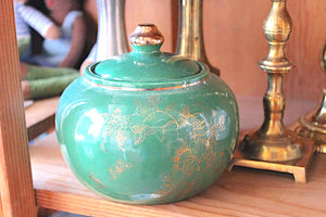 Vintage Green Jar with Gold Butterflies