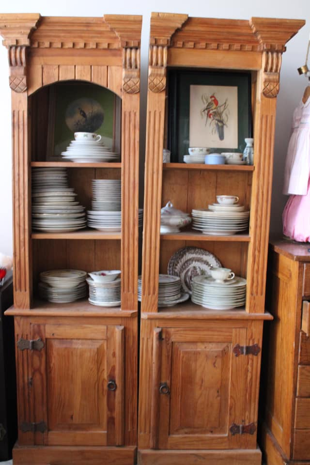 Primitive Pine Display Cabinet Set