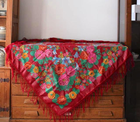 Red Floral Piano Shawl