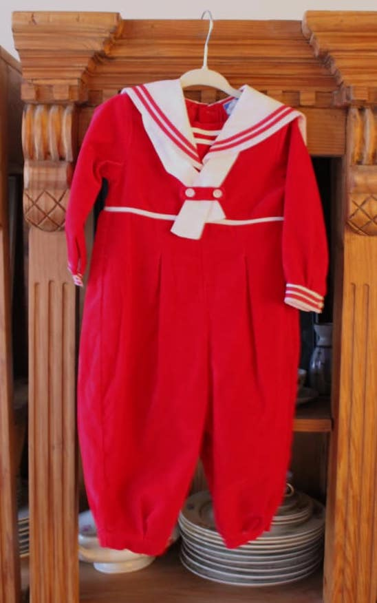 Red Velvet Sailor Jumpsuit - 2 yo