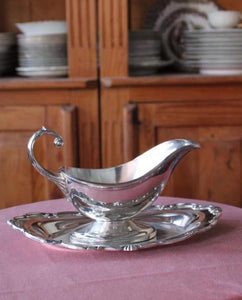 Silver Gravy Boat and Tray Set