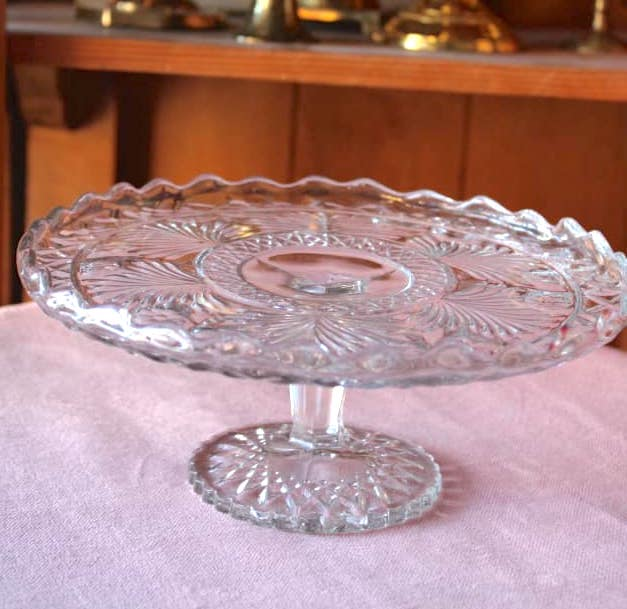 Small Depression Glass Cake Stand