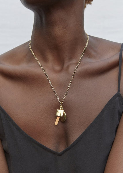 Gold Triple Charm Necklace