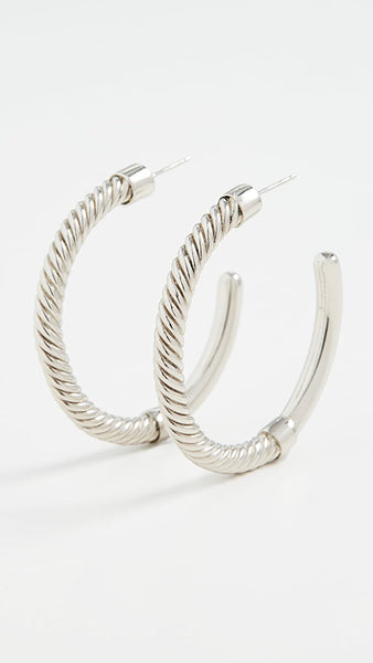 Silver Uzi Hoop Earrings