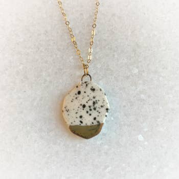 Gold and Black Splatter Geometric Necklace