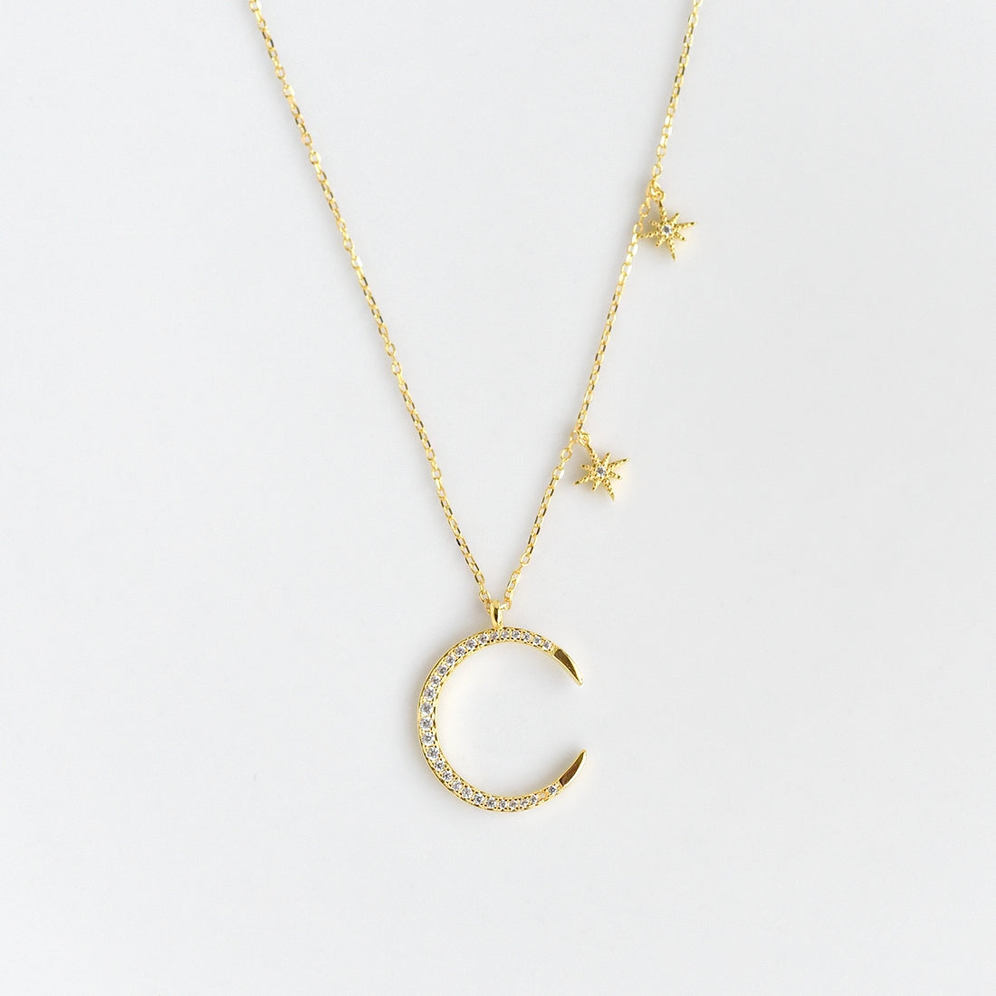 Gold Crescent Moon Necklace with Dangling Stars