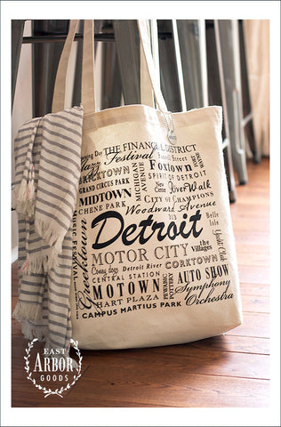 Detroit Natural Large Canvas Tote - East Arbor Goods