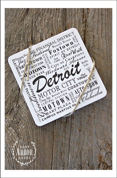 Set of drink coasters shown featuring Detroit, Michigan. Each set comes with 6 thick cardstock coasters with black screen print.