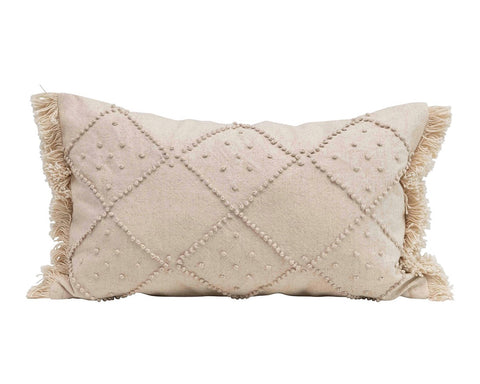 French Knot Cotton Linen Pillow - East Arbor Goods