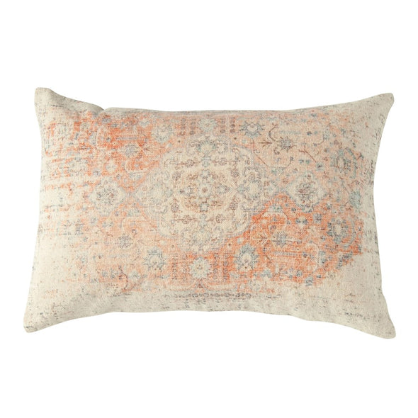 Cotton lumbar pillow with muted colors of blues, grays, tans, and corals.