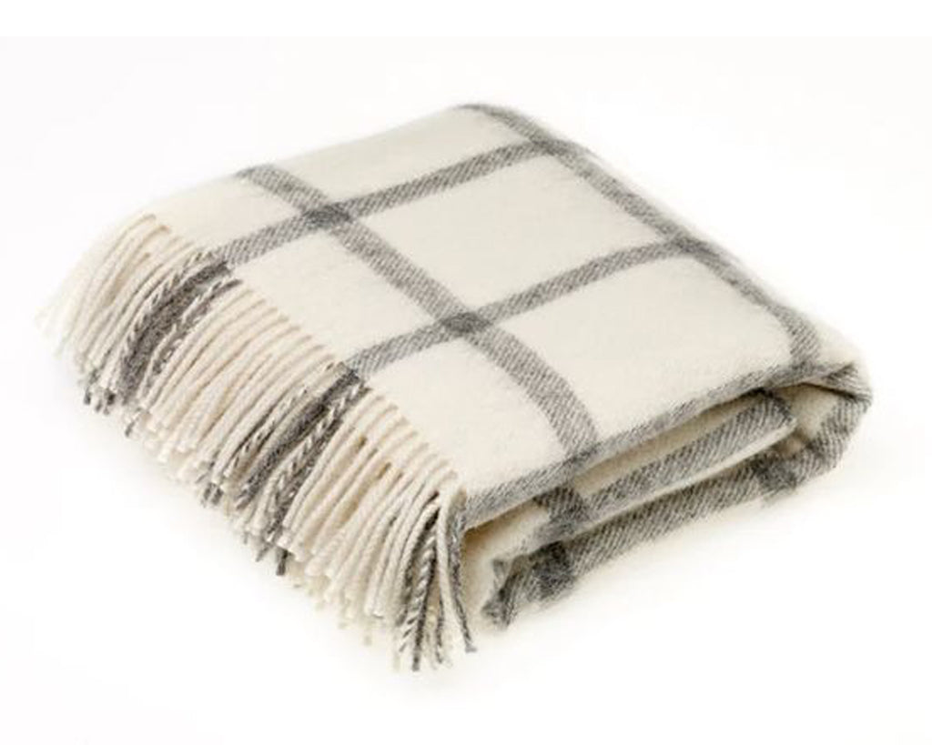 Windowpane Natural Wool Throw - East Arbor Goods