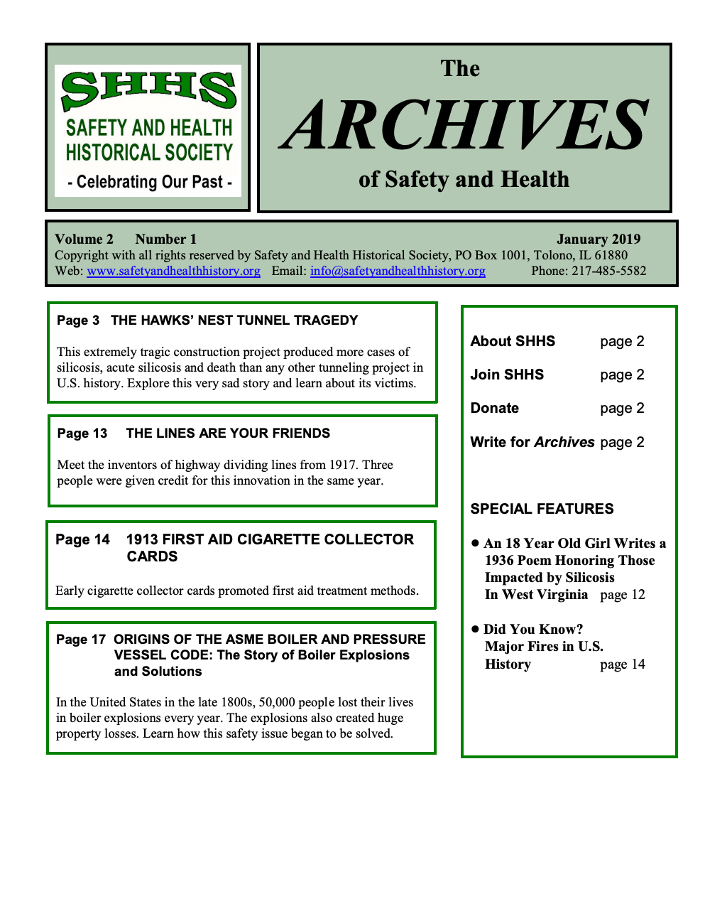 Volume 2 Number 1 - The Archives Of Safety And Health