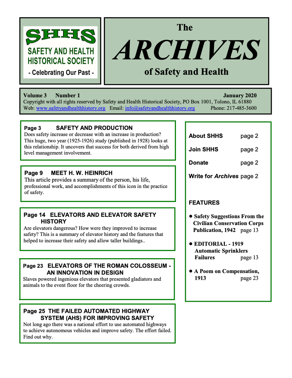 Volume 3 Number 1 - The Archives Of Safety And Health