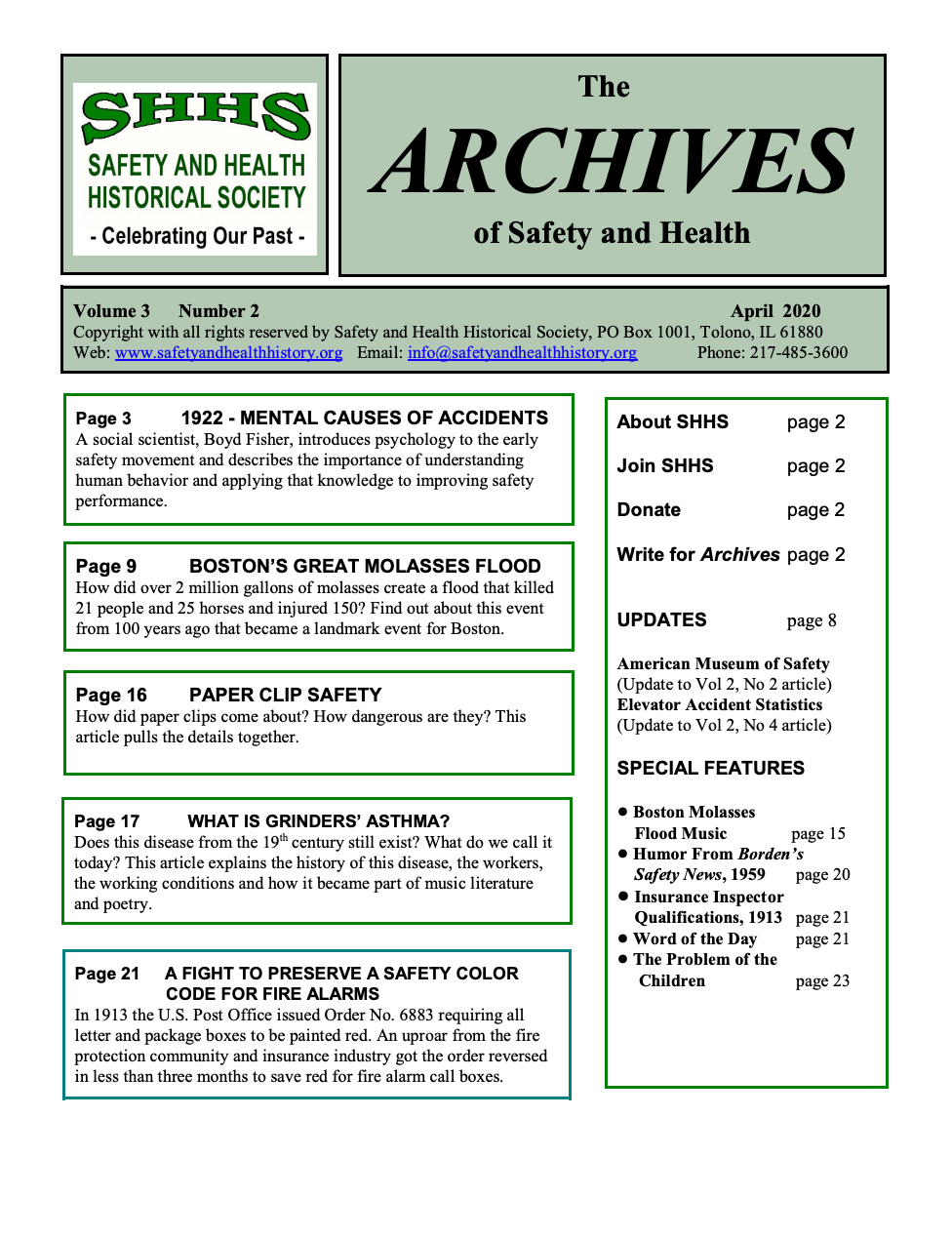 Volume 3 Number 2 - The Archives Of Safety And Health