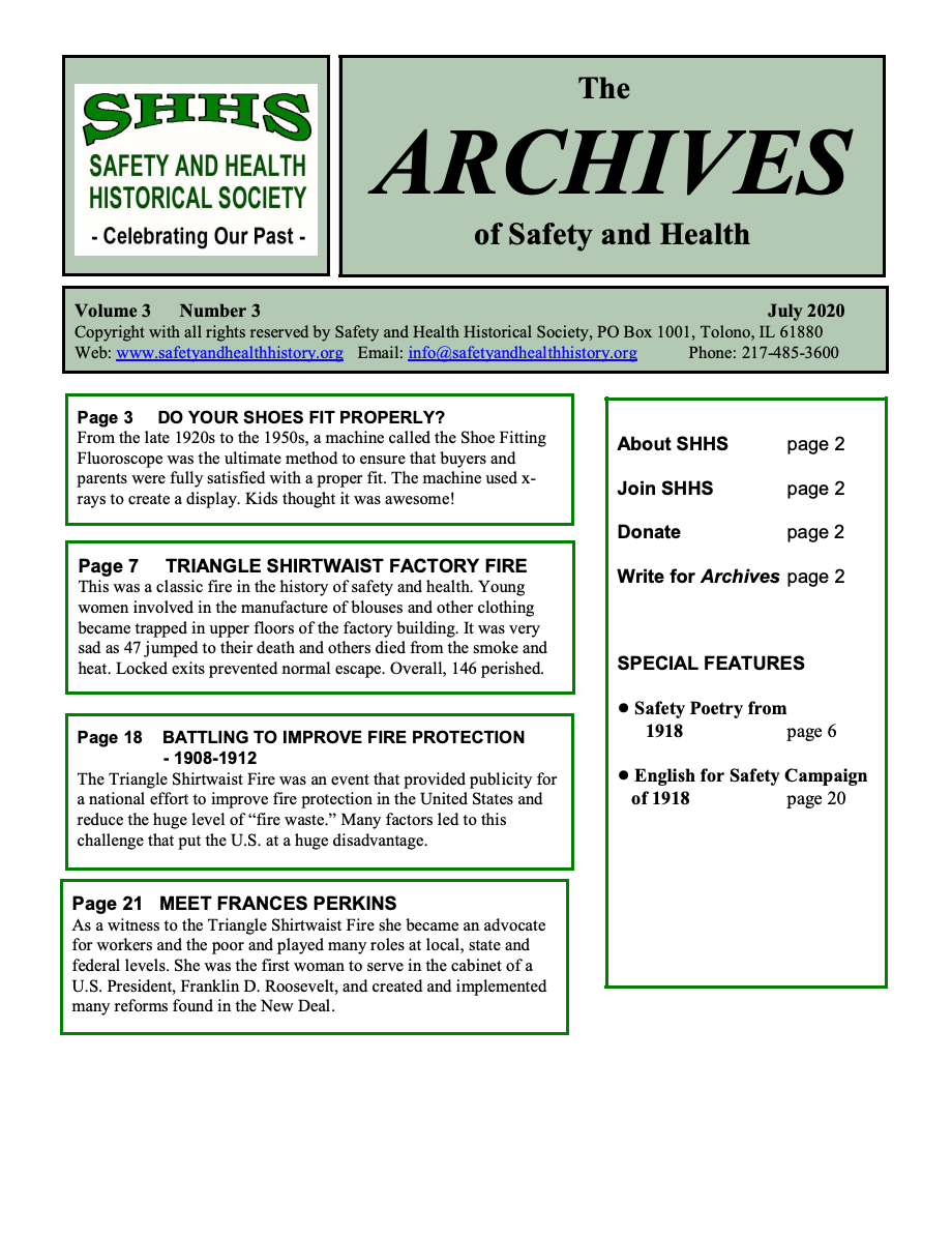 Volume 3 Number 3 - The Archives Of Safety And Health
