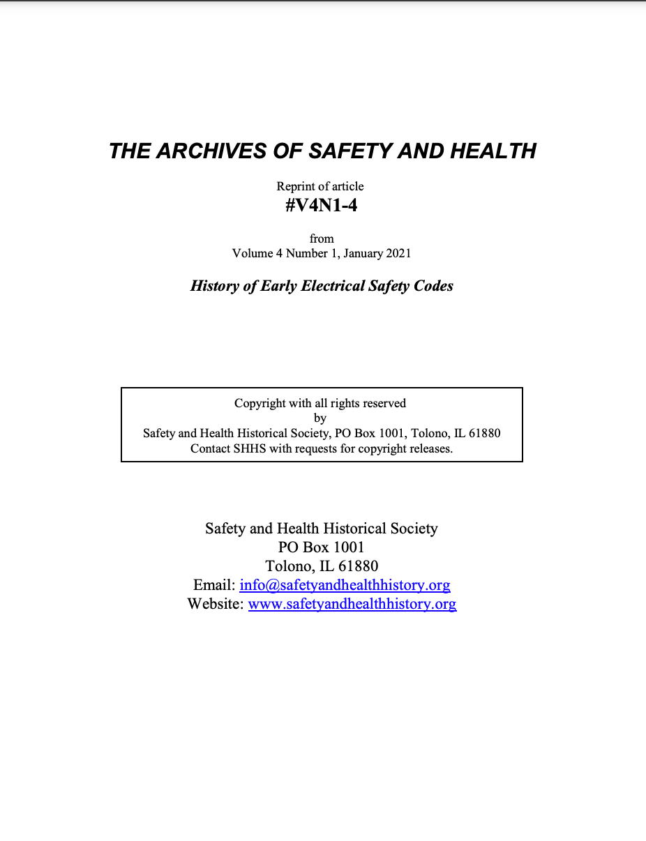 Full Article V4N1-4 of THE ARCHIVES OF SAFETY AND HEALTH - History of Early Electrical Safety Codes