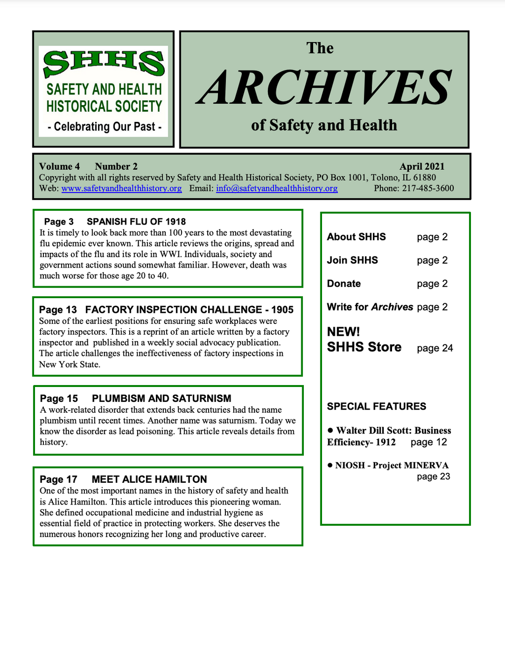 Volume 4 Number 2 - The Archives Of Safety And Health