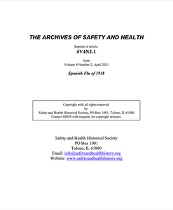 Full Article V4N2-1 of THE ARCHIVES OF SAFETY AND HEALTH - Spanish Flu of 1918