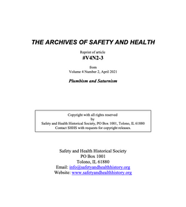 Full Article V4N2-3 of THE ARCHIVES OF SAFETY AND HEALTH - Plumbism and Saturnism