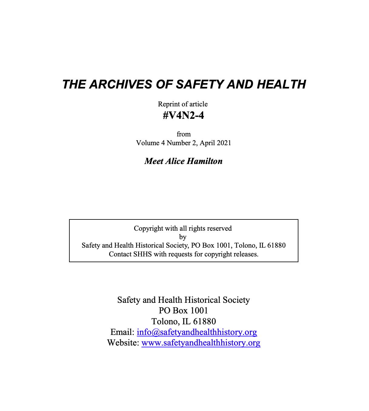 Full Article V4N2-4 of THE ARCHIVES OF SAFETY AND HEALTH - Meet Alice Hamilton