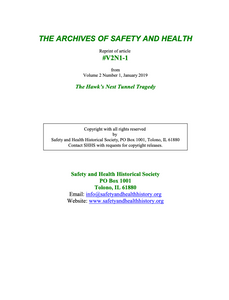 Full Article V2N1-1 of THE ARCHIVES OF SAFETY AND HEALTH - The Hawk's Nest Tunnel Tragedy