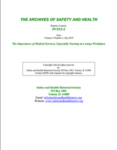 Full Article V2N3-2 of THE ARCHIVES OF SAFETY AND HEALTH - The Importance of Medical Services, Especially Nursing at a Large Workplace