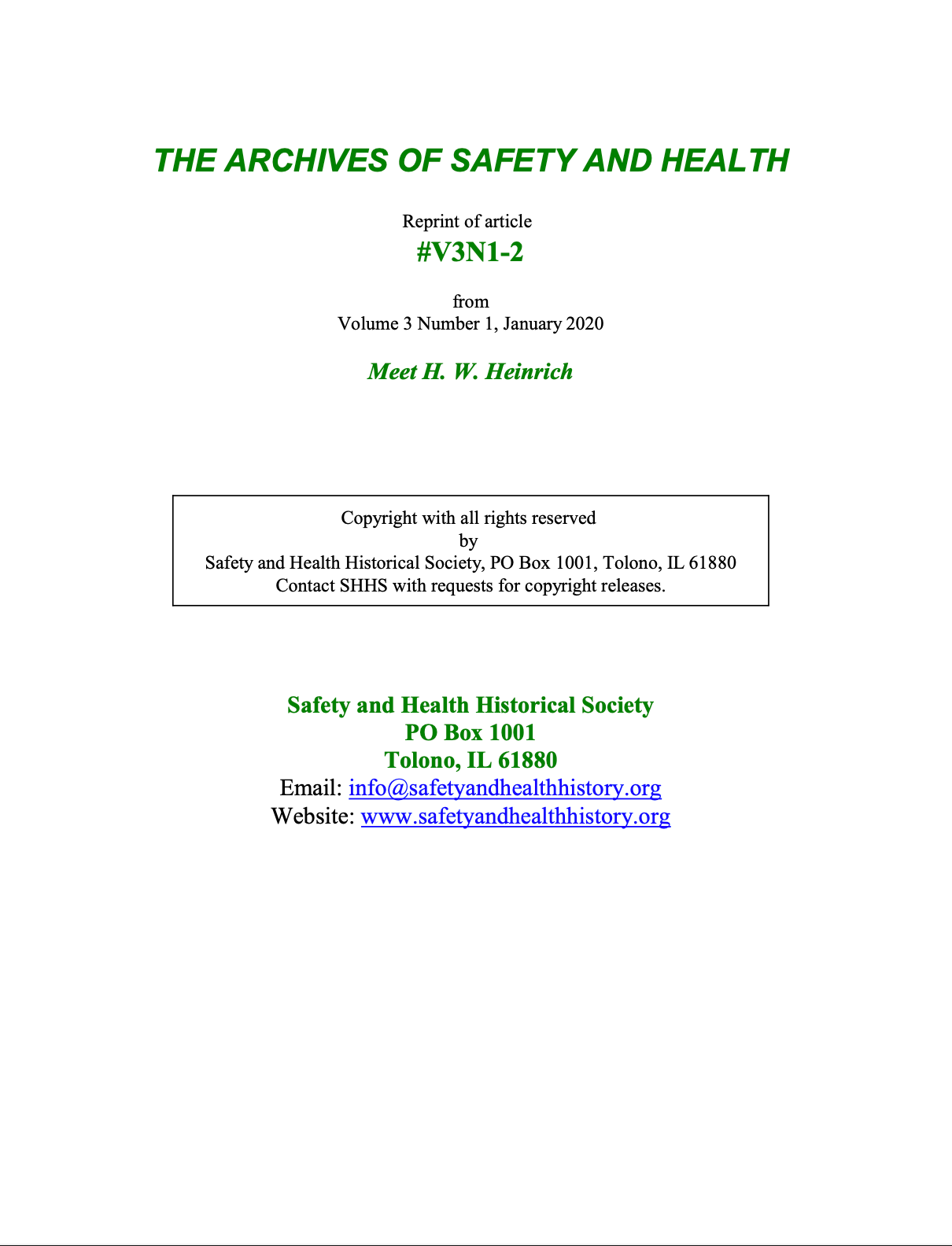 Full Article V3N1-2 of THE ARCHIVES OF SAFETY AND HEALTH - Meet H. W. Heinrich