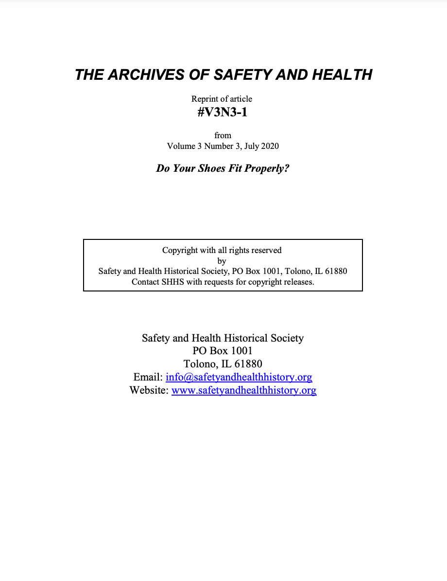 Full Article V3N3-1 of THE ARCHIVES OF SAFETY AND HEALTH - Do Your Shoes Fit Properly?