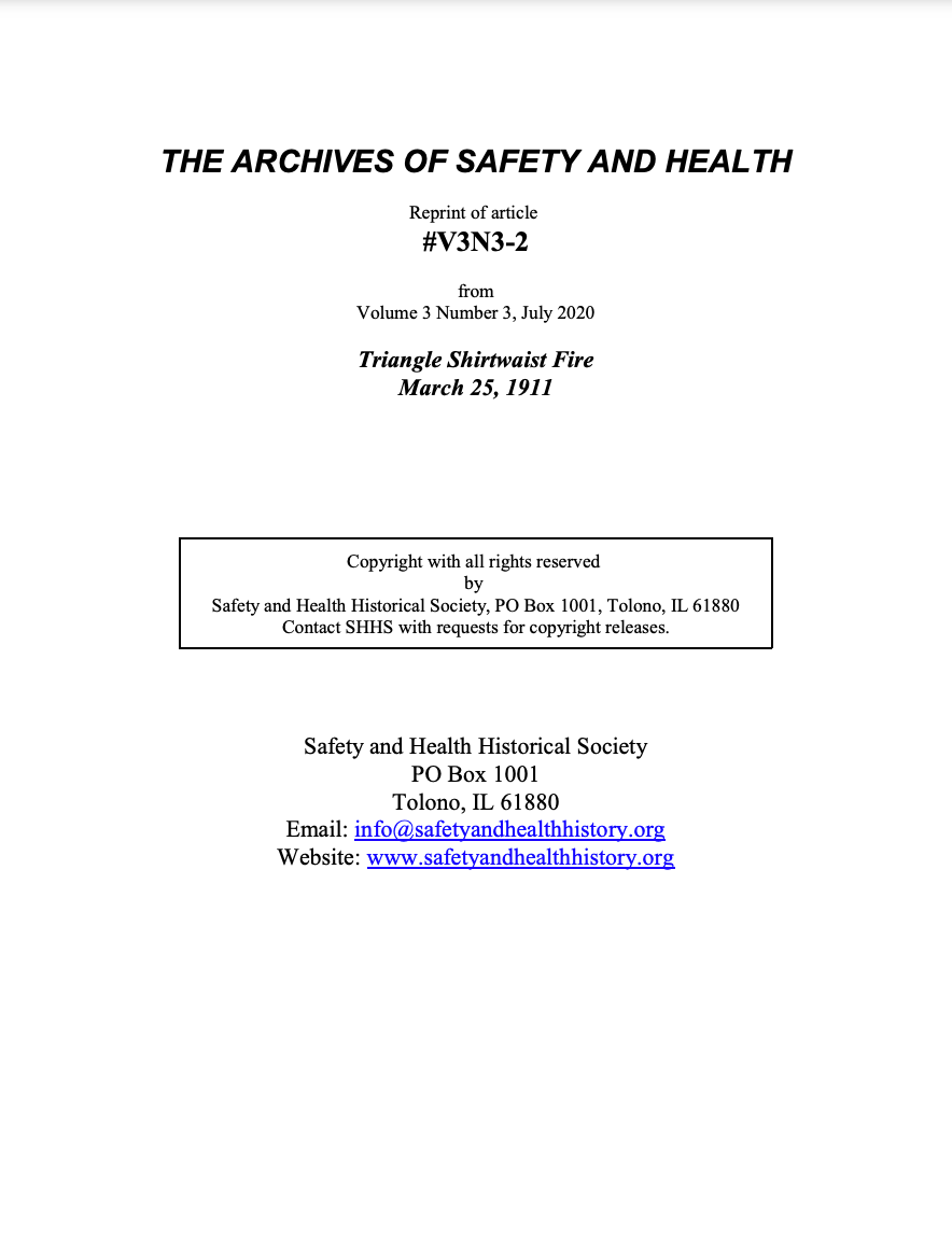 Full Article V3N3-2 of THE ARCHIVES OF SAFETY AND HEALTH - Triangle Shirtwaist Fire March 25, 1911
