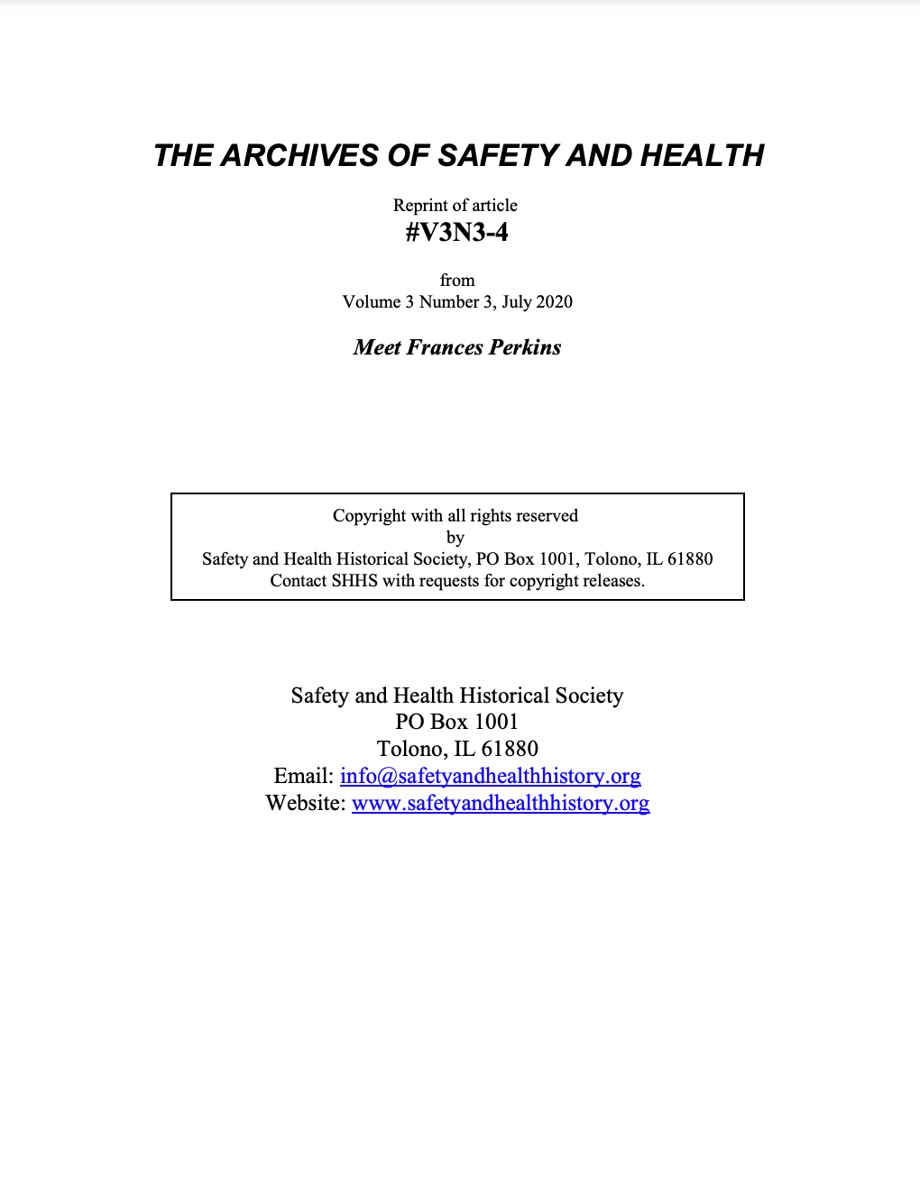 Full Article V3N3-4 of THE ARCHIVES OF SAFETY AND HEALTH - Meet Frances Perkins