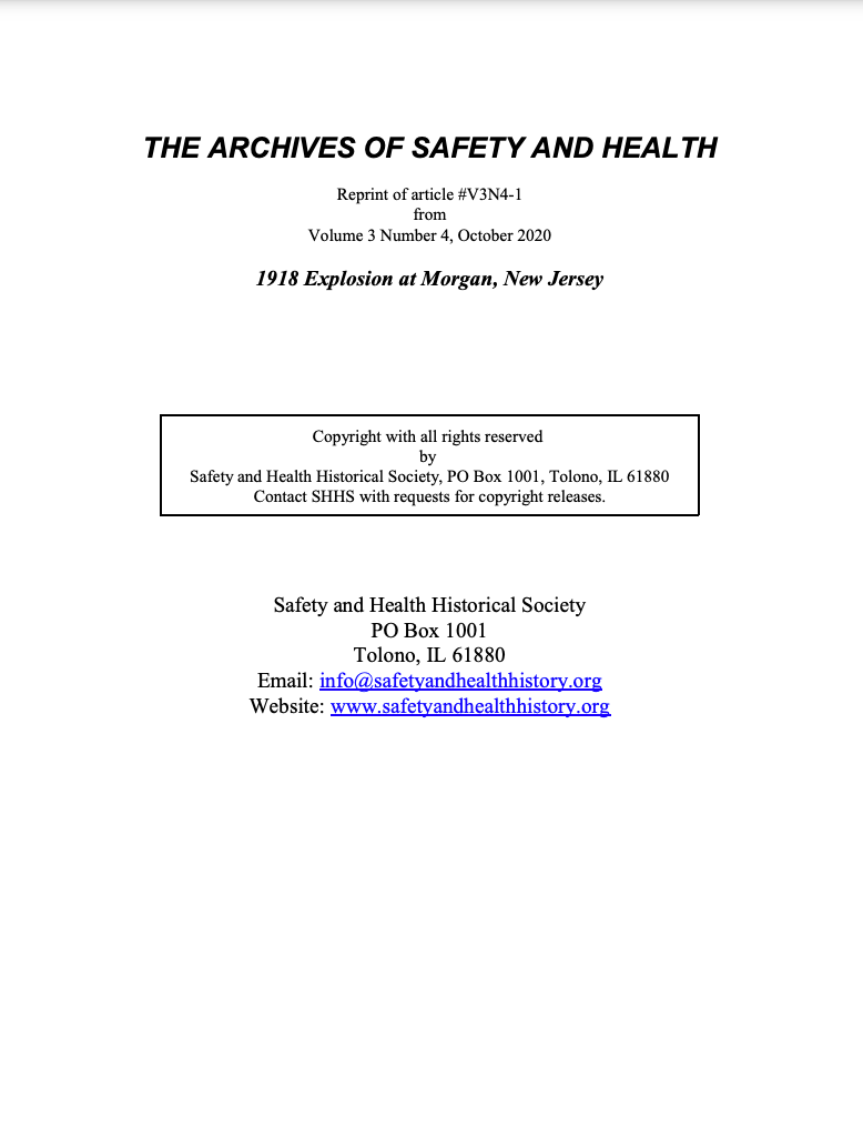 Full Article V3N4-1 of THE ARCHIVES OF SAFETY AND HEALTH - 1918 Explosion at Morgan, New Jersey