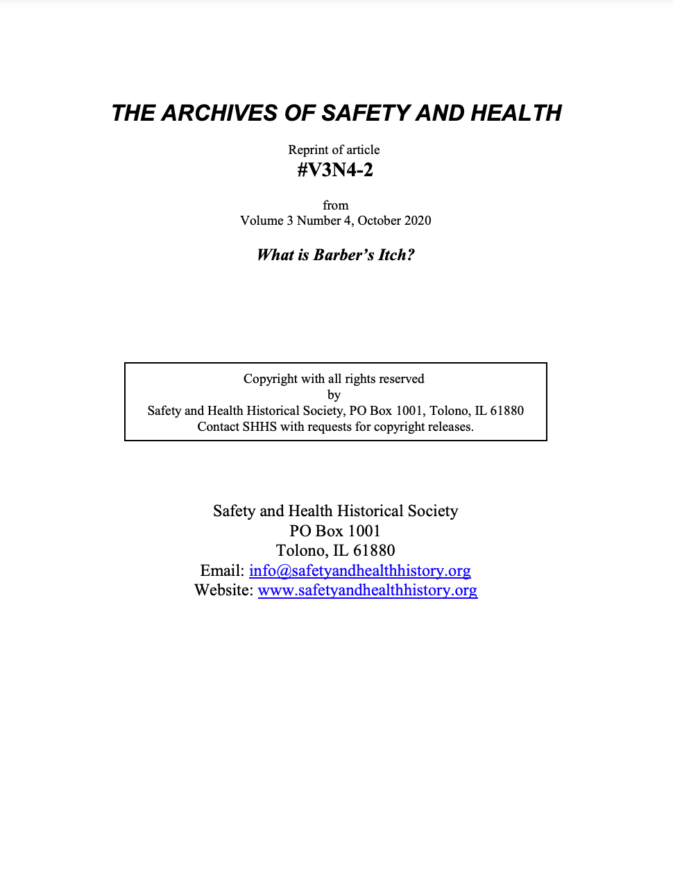 Full Article V3N4-2 of THE ARCHIVES OF SAFETY AND HEALTH - What is Barber's Itch?