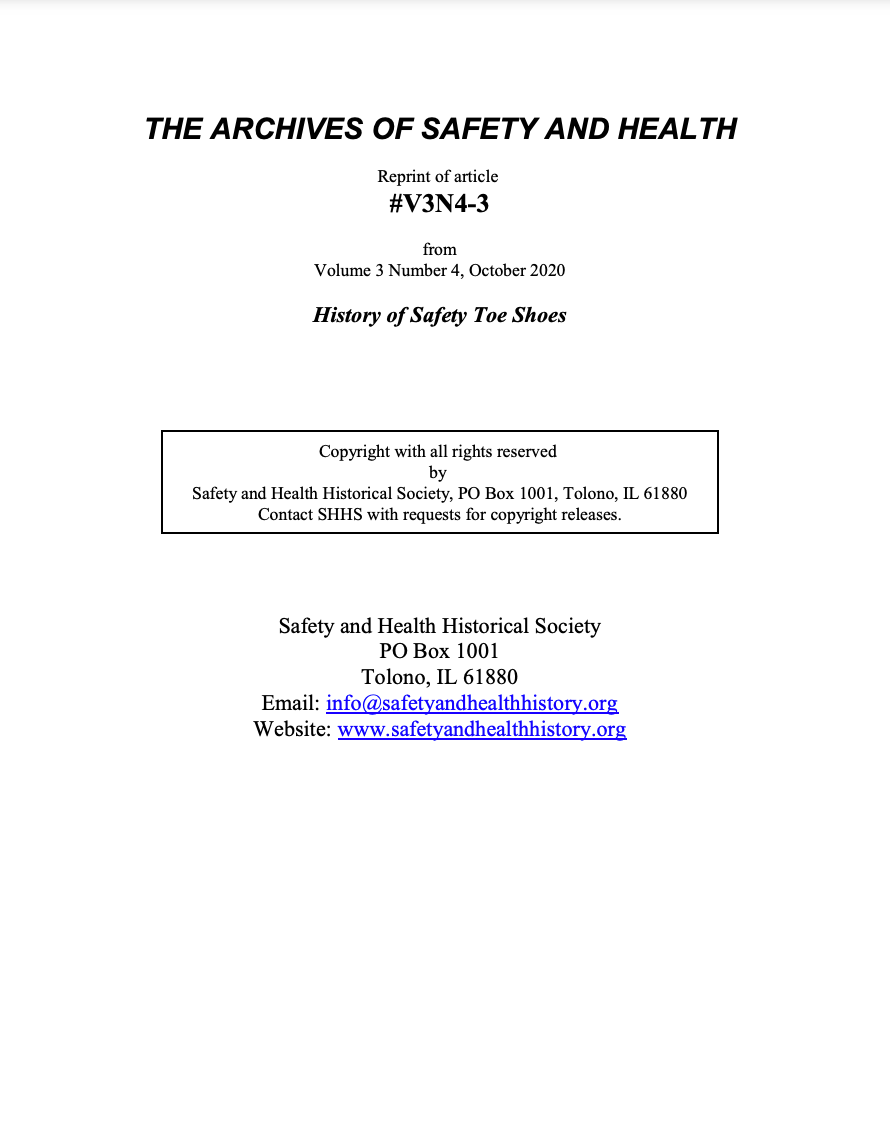 Full Article V3N4-3 of THE ARCHIVES OF SAFETY AND HEALTH - History of Safety Toe Shoes