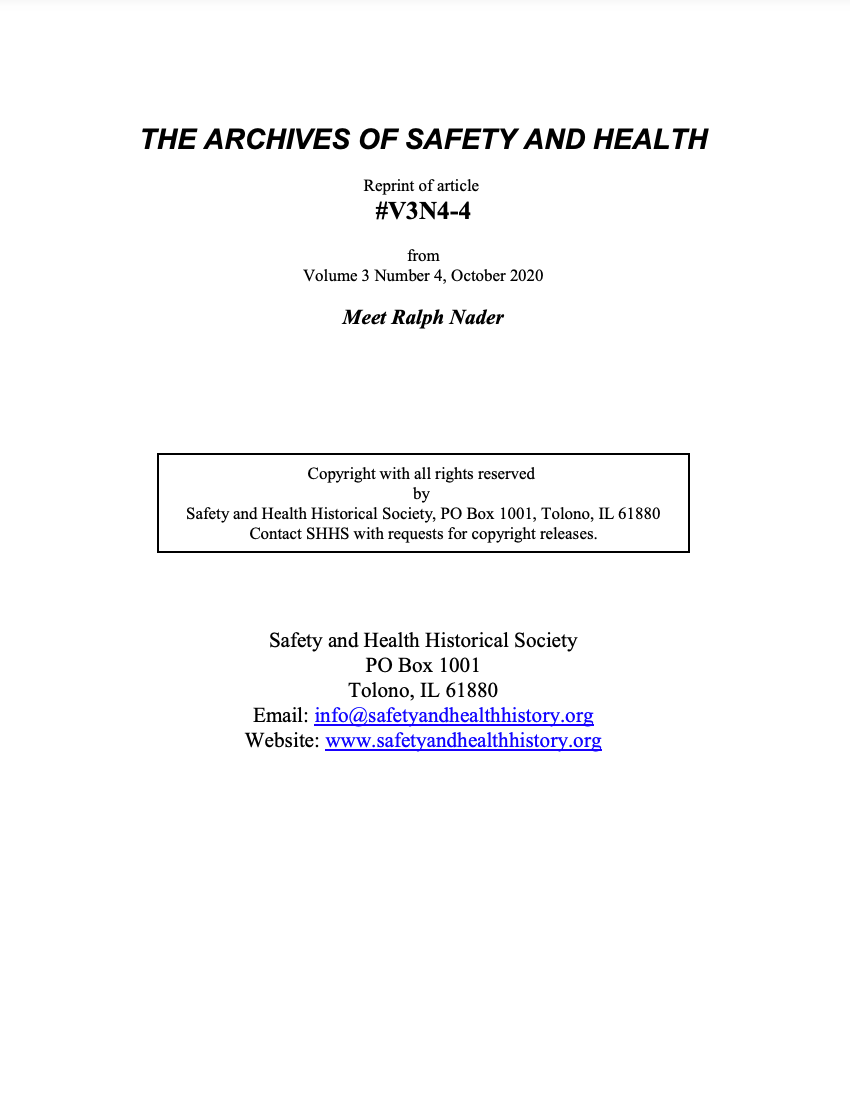 Full Article V3N4-4 of THE ARCHIVES OF SAFETY AND HEALTH - Meet Ralph Nader