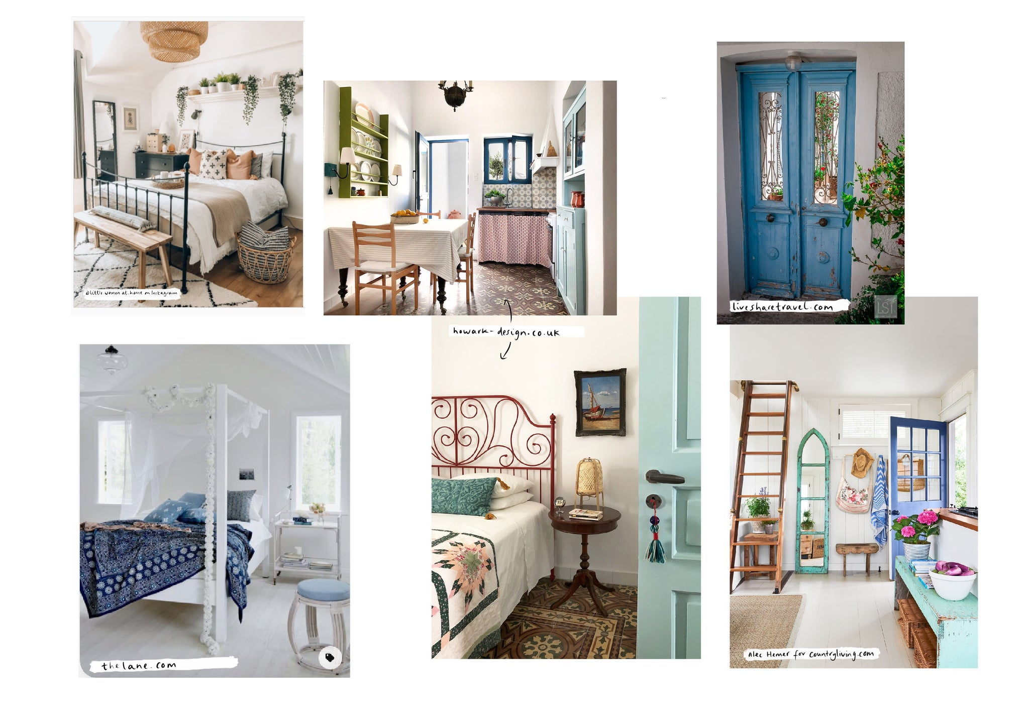 Mood board featuring turquoise features