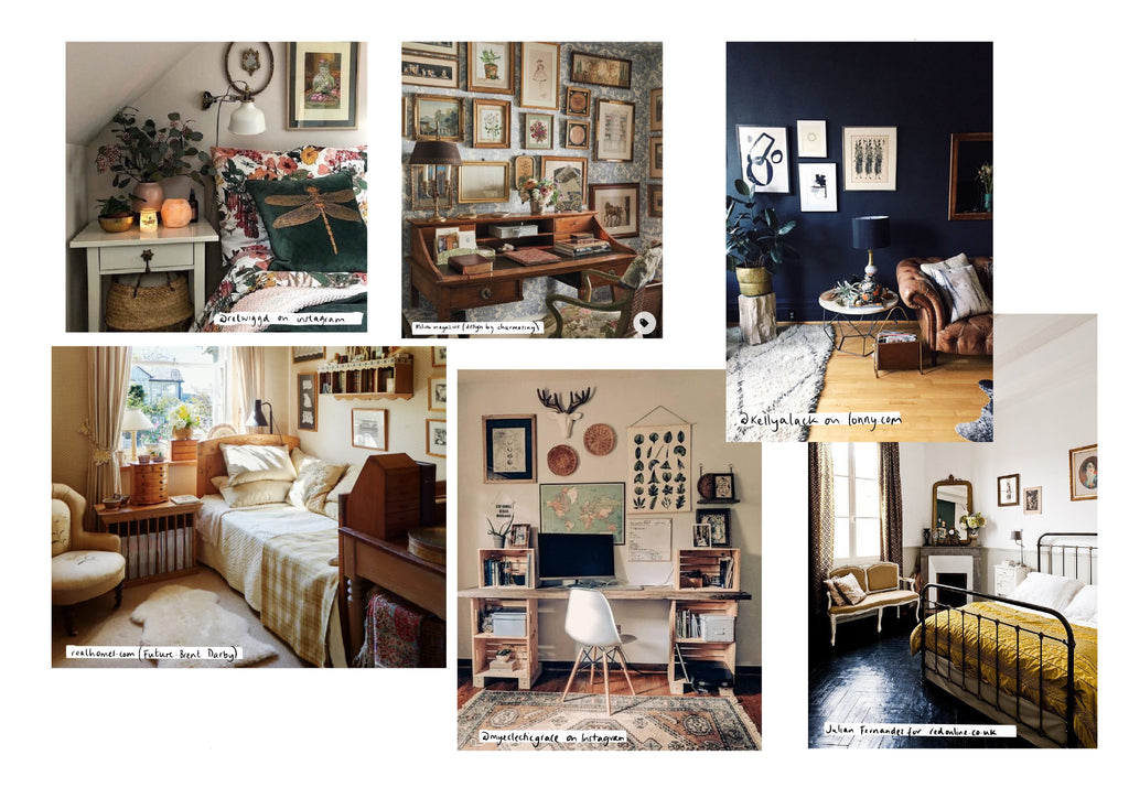 Collection of  vintage inspired decor with dark wall features, lots of botanical prints in old frames