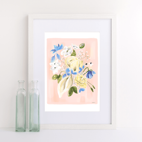 Pretty floral painting of yellow and blue flowers on a peach background