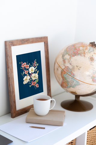 Winter Flowers painting with cup of tea and globe
