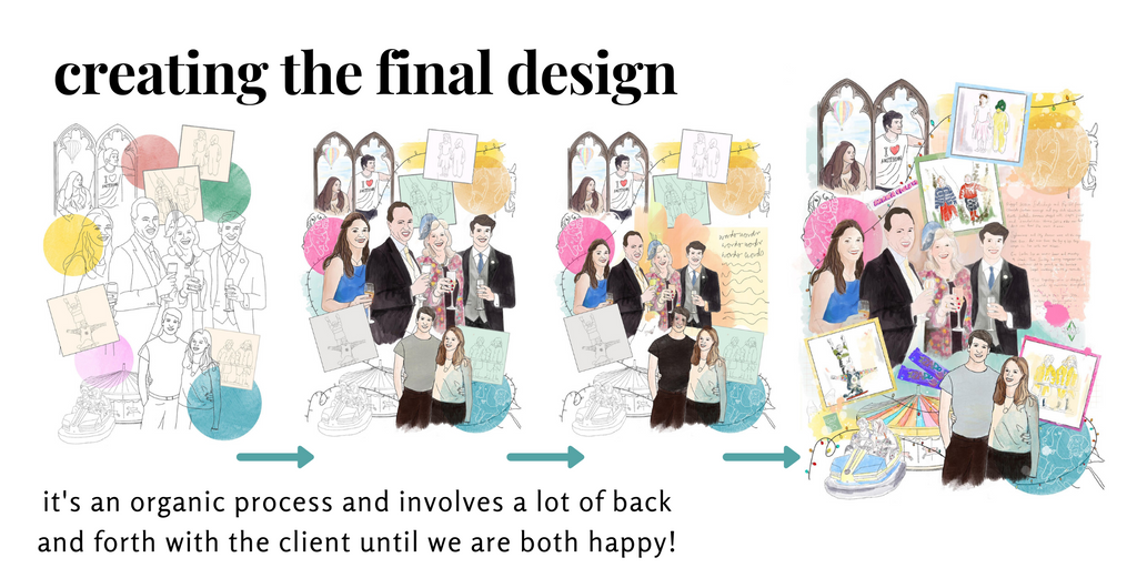 The design process showing the evolution of the piece