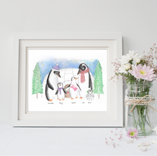 Load image into Gallery viewer, Christmas Wall Art - A Personalised Penguin Family Portrait!