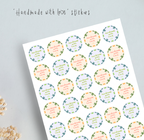 Handmade with love sticker sheets in blue and orange