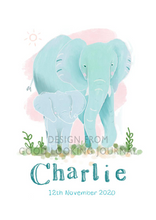 Load image into Gallery viewer, Elephant Nursery Wall Art