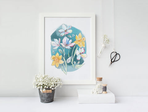 Daffodil and Magnolia Watercolour with teal background