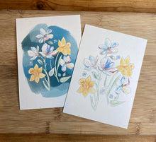 Load image into Gallery viewer, Daffodil and Magnolia Postcards (A6 - set of 2)