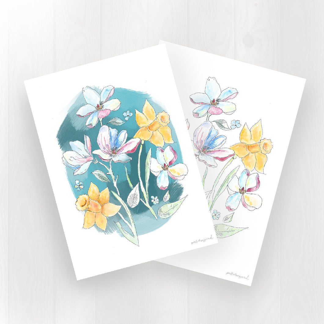 Daffodil and Magnolia Postcards (A6 - set of 2)