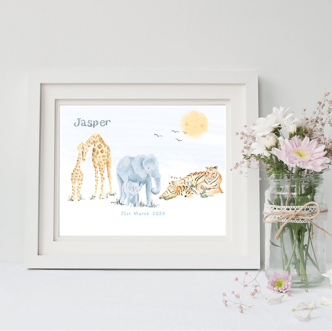Safari Animals Nursery Wall Art
