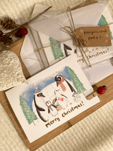 Load image into Gallery viewer, Handmade Penguin Family Christmas Cards