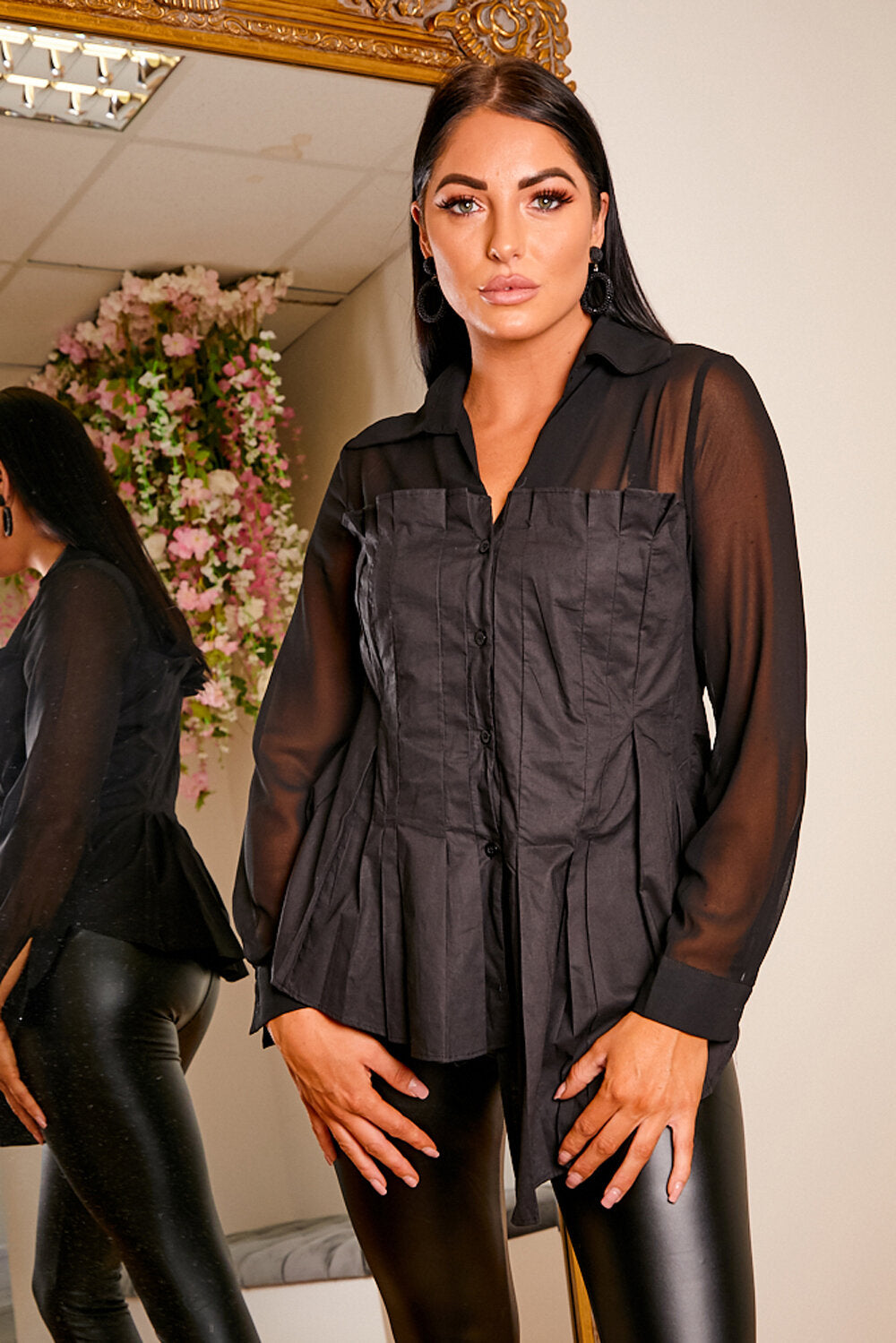 Pleated black blouse