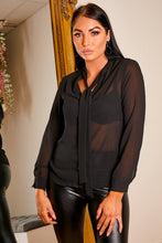 Load image into Gallery viewer, Sheer bow neck blouse BLACK