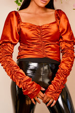 Load image into Gallery viewer, Satin ruched crop top BRONZE